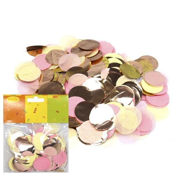 Конфетти бумага/фольга Круги золото/розовый/шампань 2,5см 14гр