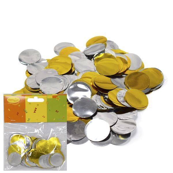 Конфетти бумага/фольга Круги золото/серебро 2,5см 14гр