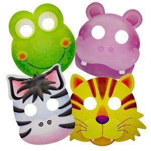 Карнавальные маски бумажные Забавные зверята ассорти