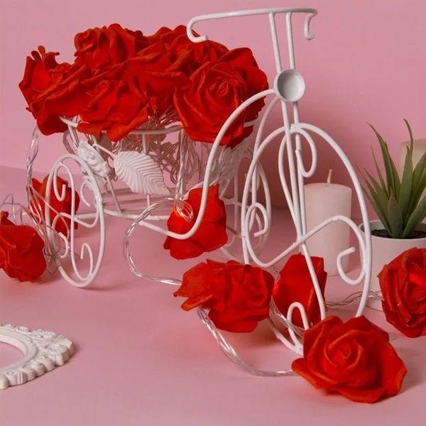 Гирлянда 5м Розы красные 7см LED-20-220V т/белый режим фиксинг