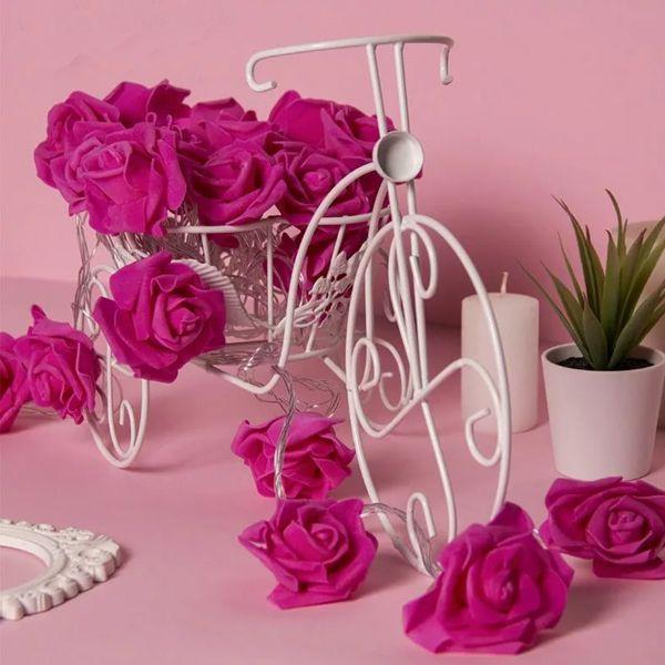 Гирлянда 5м Розы розовые 7см LED-20-220V т/белый режим фиксинг