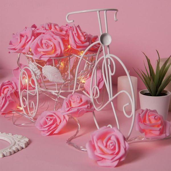 Гирлянда 5м Розы светло розовые 7см LED-20-220V т/белый режим фиксинг