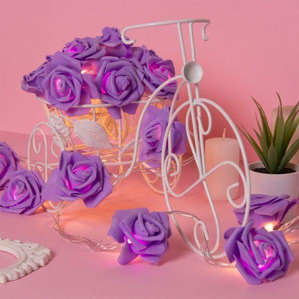 Гирлянда 5м Розы фиолетовые 7см LED-20-220V т/белый режим фиксинг
