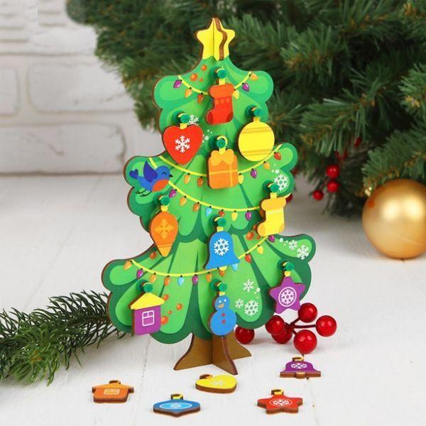 Сувенир Елочка с игрушками 15*20см деревянная