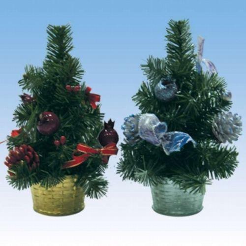Новогодняя елка в корзине с украшениями, 20 см