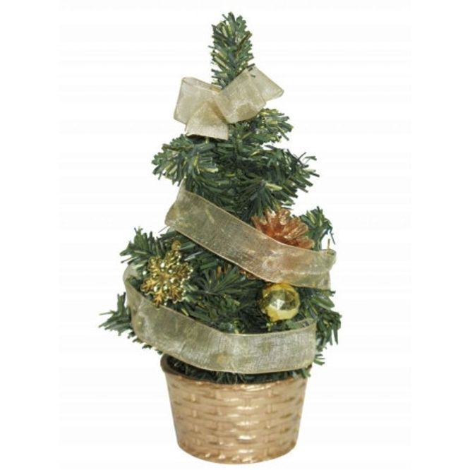 Новогодняя елка с украшениями в корзине, 20 см