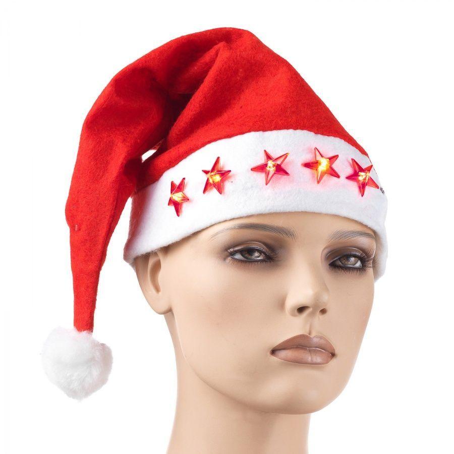 Новогодняя шапка Деда мороза с мигающими звездами, 28 х 42 см