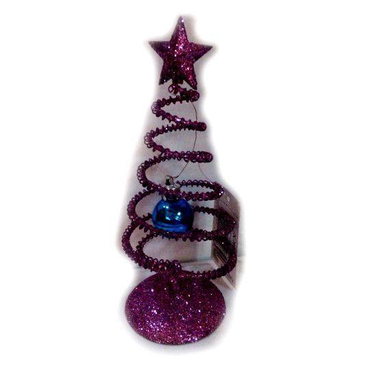 Декоративная новогодняя елочка со звездой, фиолетовая, 14 см