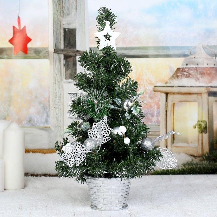 Ёлка декор 40*22 см цветы, шарики серебро
