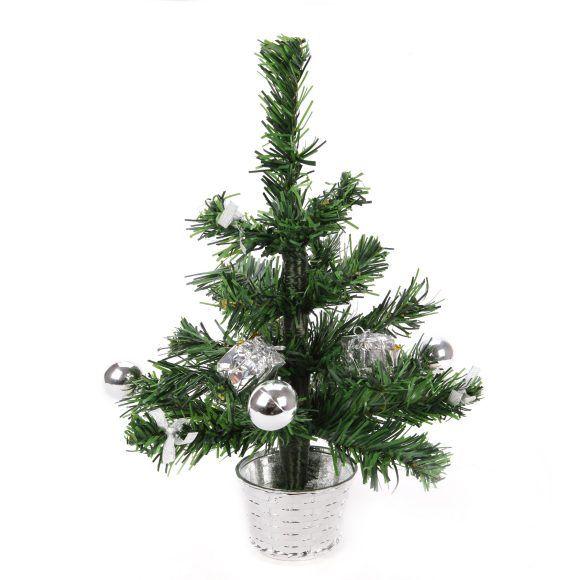 Новогодняя елка с украшениями, серебристая, 30 см