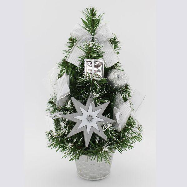 """Новогодняя елка """"Заснеженная"""" с украшениями, серебряная 30 см"""