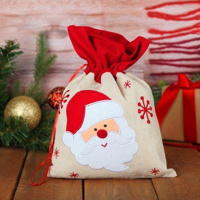 """Мешок для подарков """"Дед Мороз и снежинки"""" на завязках, 29 х 22 см"""