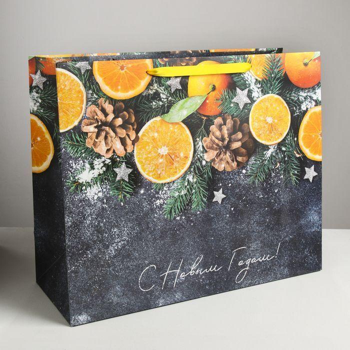 Пакет подарочный ламинированный горизонтальный «Мандарины», XL 49 x 40 × 19 см