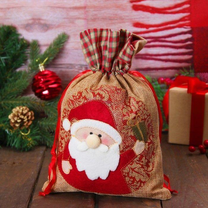 "Мешок для подарков ""Дед Мороз с подарком"" на завязках"