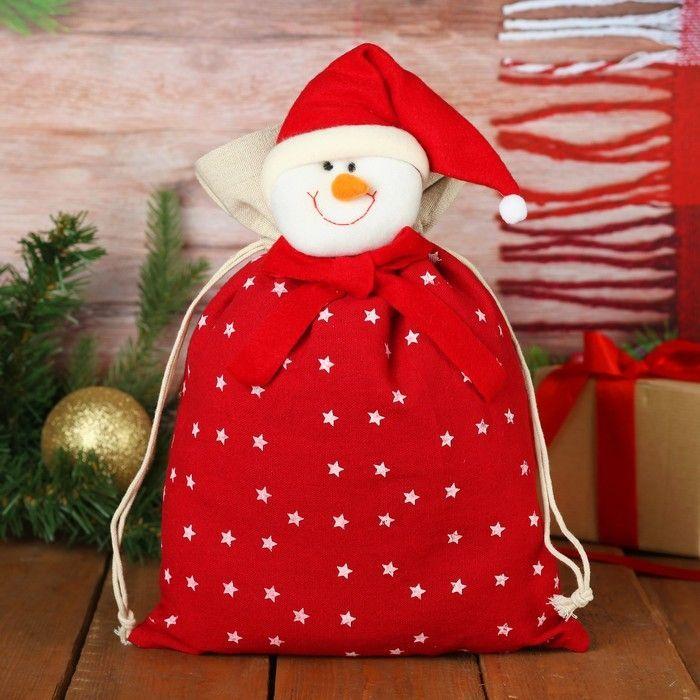 """Мешок для подарков """"Дед Мороз"""" на завязках, со звёздами, 35 х 25 см"""