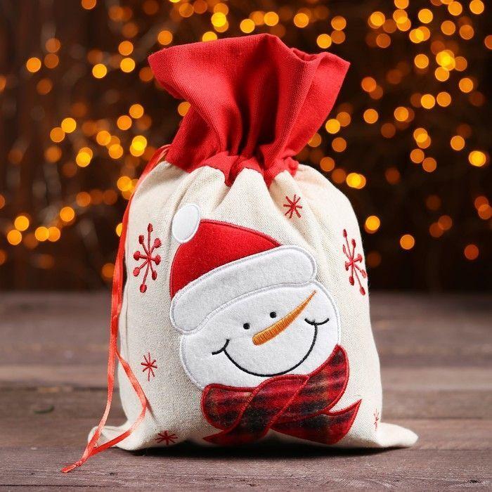 """Мешок для подарков """"Снеговичок и снежинки"""" на завязках, 29 х 22 см"""