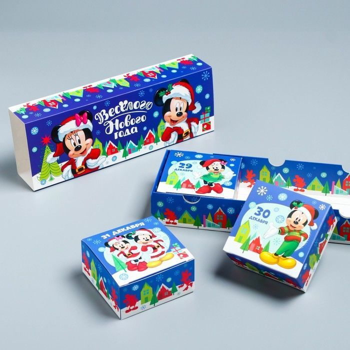 "Коробка складная ""Весёлого Нового года"", Микки Маус и друзья, 27,2 х 9,4 х 4,8 см"