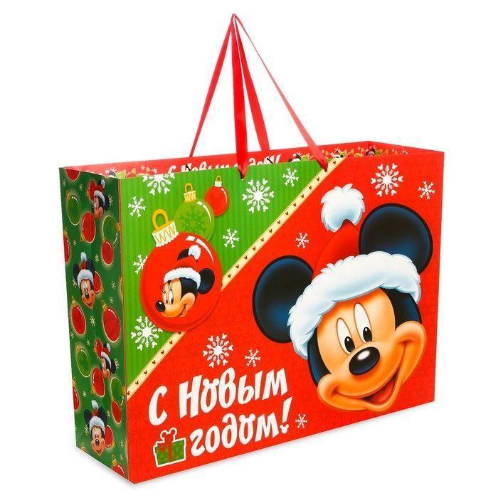 """Пакет ламинат """"Подарок от деда Мороза"""", 61х46х20 см, Микки Маус"""