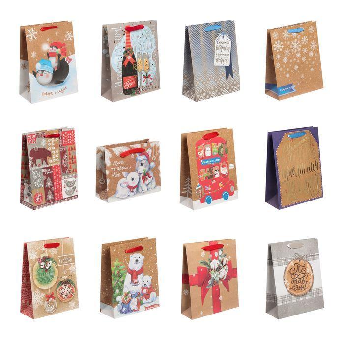 Набор крафтовых пакетов «Зимнее поздравление», MS 18 × 23 × 8 см
