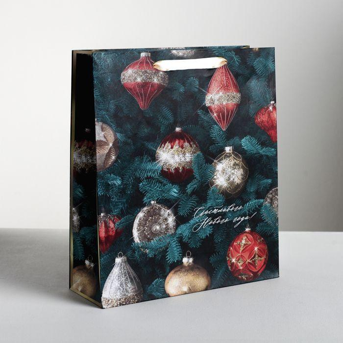 Пакет подарочный ламинированный вертикальный «Новогодние игрушки», XL 40 x 49 × 19 см