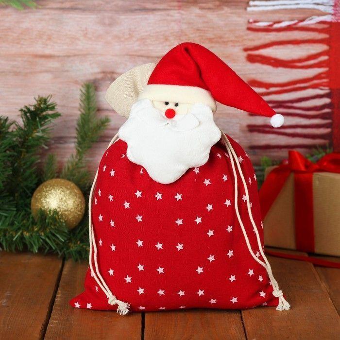 """Мешок для подарков """"Снеговик"""" на завязках, со звёздами, 35 х 25 см"""