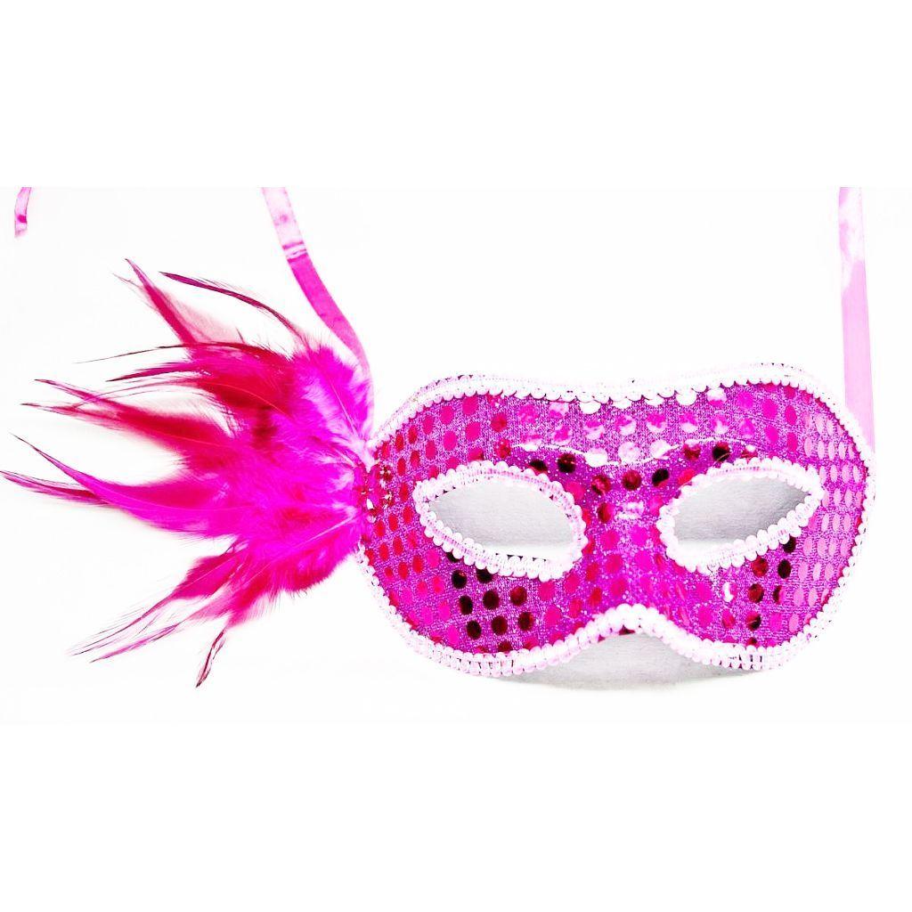 Пластиковая маска с перьями и стразами