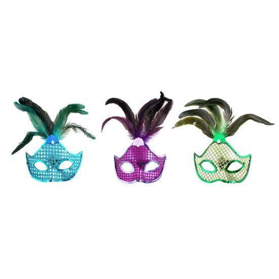 Новогодняя маска с перьями