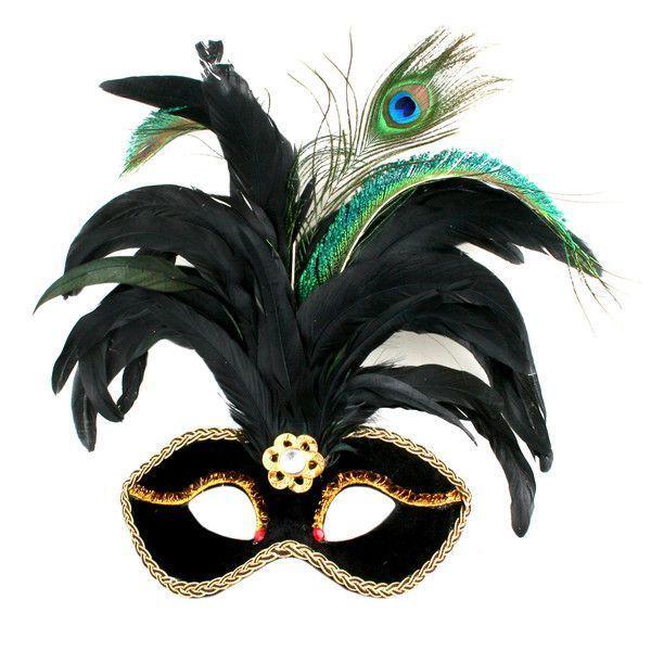 Новогодняя маска с перьями, узорной тесьмой и самоцветом, черная