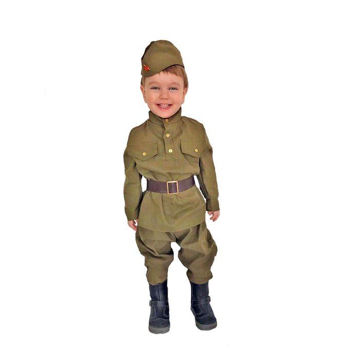 """Карнавальный костюм """"Солдат-малютка"""", пилотка, гимнастёрка, ремень, галифе, 2-3 года, рост 94-104 см"""
