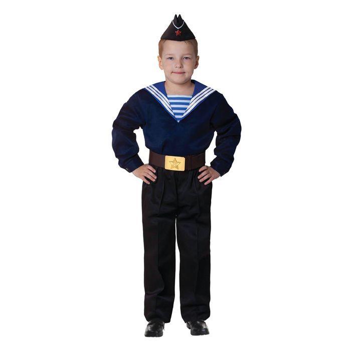"""Карнавальный костюм """"Моряк в пилотке"""" для мальчика, синяя фланка, брюки, ремень, р-р 32, рост 110-116 см"""