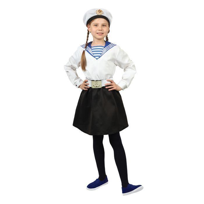 """Карнавальный костюм """"Морячка в бескозырке"""" для девочки, белая фланка, юбка, ремень, р-р 32, рост 110-116 см"""