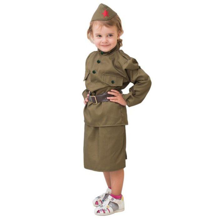 """Костюм военного """"Солдаточка"""", гимнастёрка, ремень, пилотка, юбка, 5-7 лет, рост 122-134 см"""