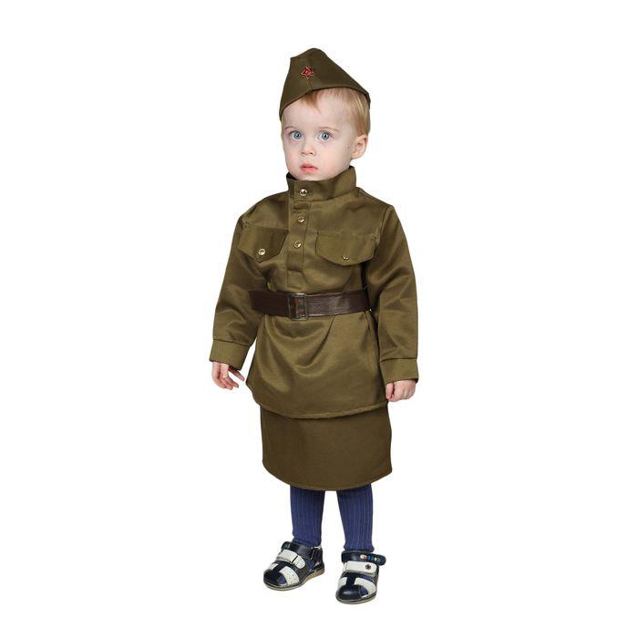 """Карнавальный костюм """"Солдаточка-малютка"""", пилотка, гимнастёрка, ремень, юбка, 1-2 года, рост 82-92 см"""