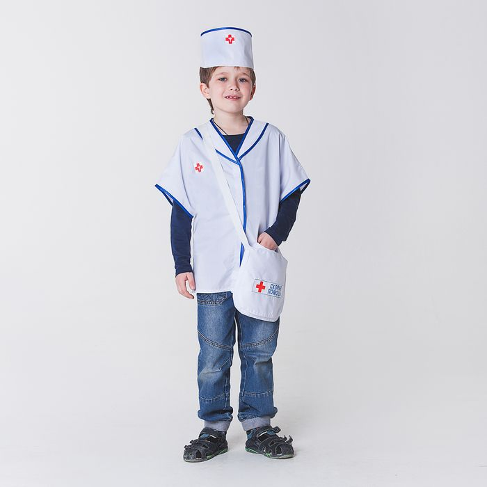 """Карнавальный костюм """"Скорая помощь"""", халат, головной убор, сумка, рост 110-122 см, 4-6 лет"""