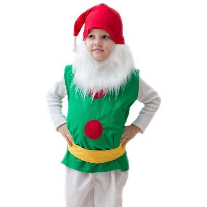 """Карнавальный костюм """"Гномик"""", колпак, борода, безрукавка, набивной живот, пояс, 5-7 лет, рост 122-134 см"""