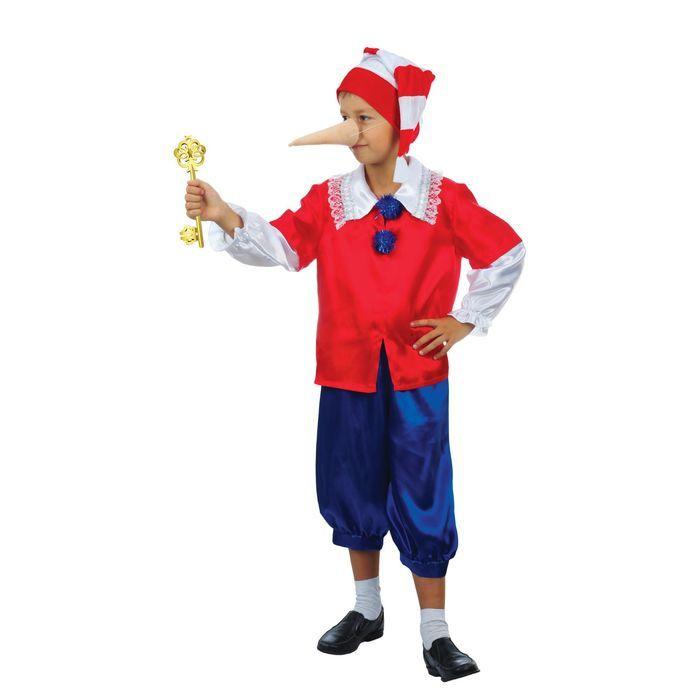 """Карнавальный костюм """"Нарядный Буратино"""", колпак, куртка, штаны, нос, рост 98-104 см"""