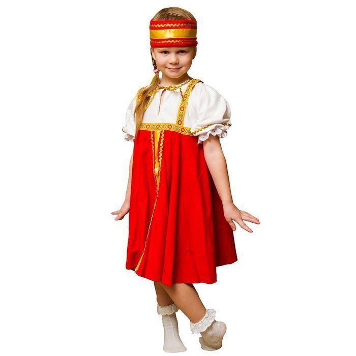 """Карнавальный костюм """"Хоровод"""", рубаха, сарафан, повязка на голову, 3-5 лет, рост 104-116"""