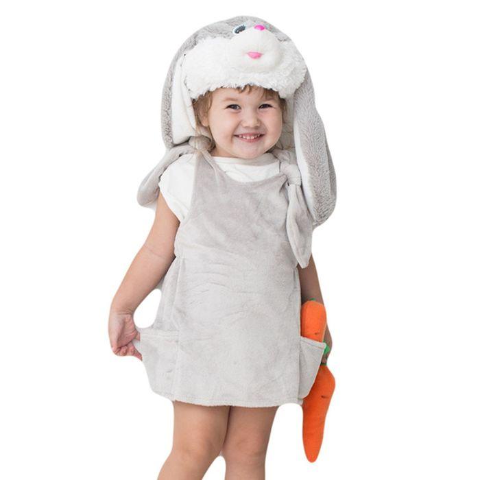 """Детский карнавальный костюм """"Заюша"""": шапка, платье, мягконабивная морковка, на 1-2 года (рост 92 см)"""