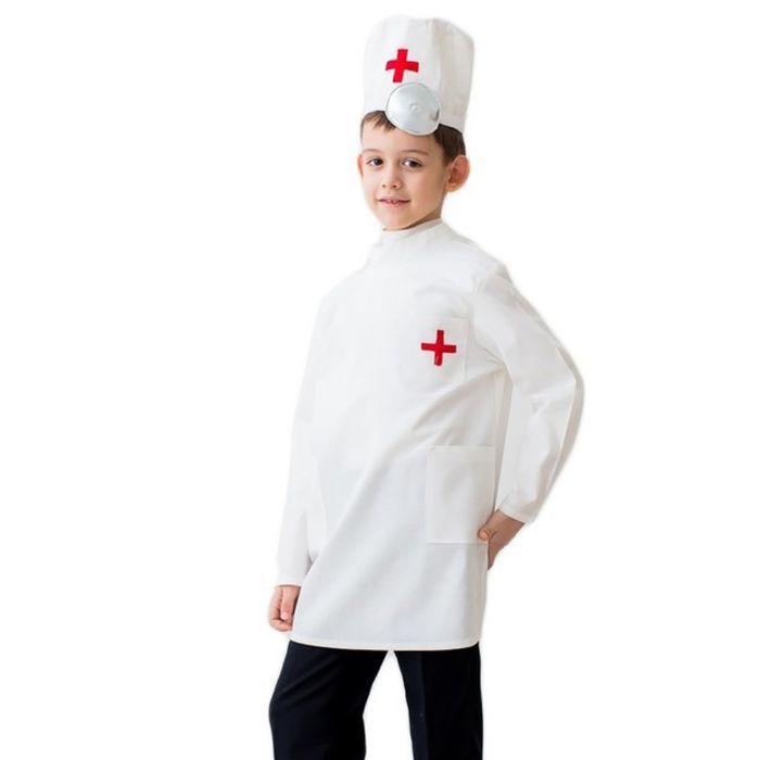 """Карнавальный костюм """"Доктор"""", шапка с инструментом, халат, 5-7 лет, рост 122-134 см"""