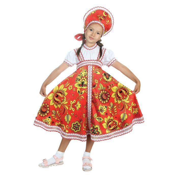 """Русский народный костюм """"Хохлома"""", платье, кокошник, цвет красный, р-р 34, рост 134 см"""