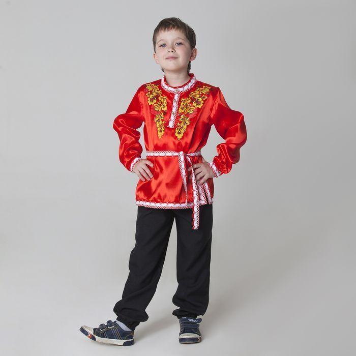 """Карнавальная русская рубаха """"Хохлома: цветы"""", атлас, цвет красный, р-р 30, рост 110-116 см"""