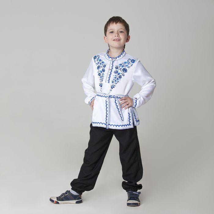 """Карнавальная русская рубаха """"Синие цветы"""", атлас, цвет белый, р-р 34, рост 140 см"""
