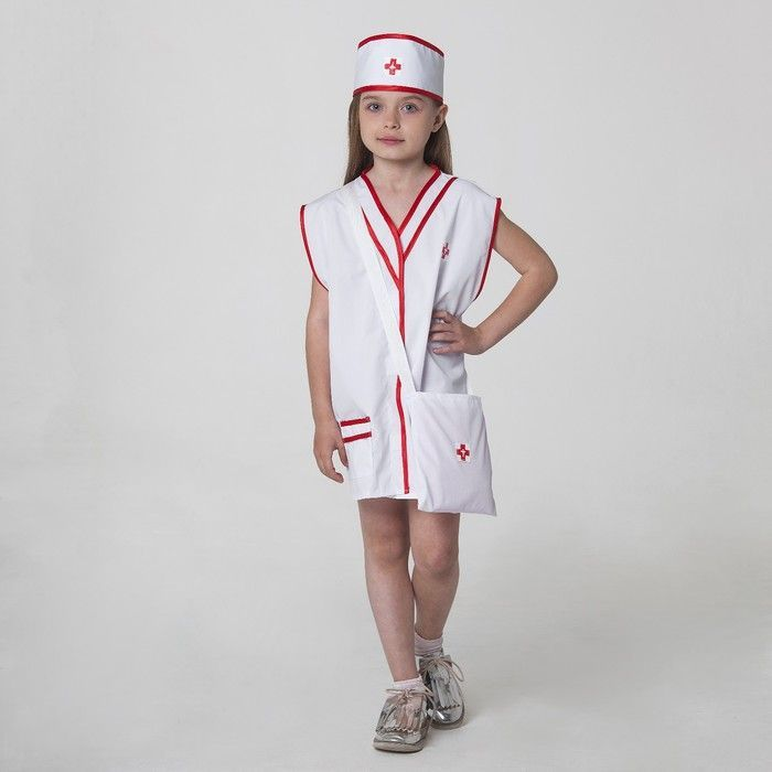 """Карнавальный костюм """"Медсестра"""", халат, сумка, повязка на голову, рост 110-122 см, 4-6 лет"""
