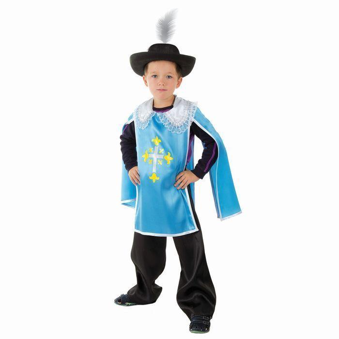 """Детский карнавальный костюм """"Мушкетёр"""", 4-7 лет, рост 104-128 см, цвет голубой"""