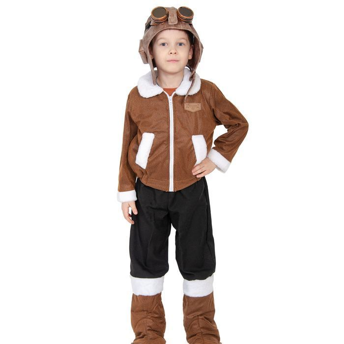 """Карнавальный костюм """"Лётчик полярный"""", шлем, куртка, брюки с унтами, рост 98-128см"""