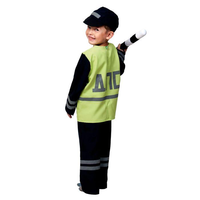 """Карнавальный костюм """"Полицейский ДПС"""", куртка, брюки, кепка, жезл, р-р 32-34, рост 128-134 см"""