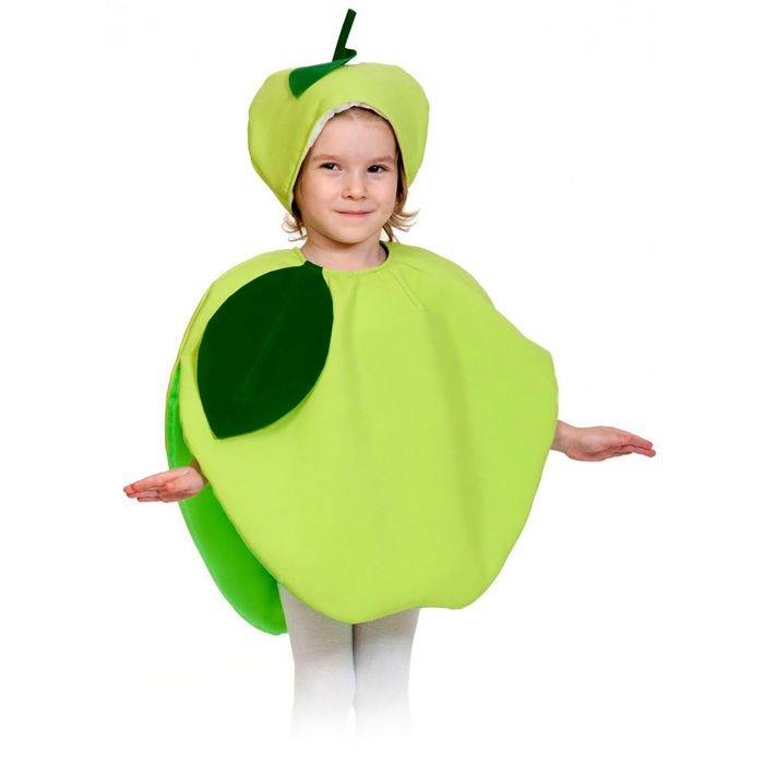"""Карнавальный костюм """"Яблоко"""", текстиль, накидка и маска-шапочка, рост 98-128 см"""