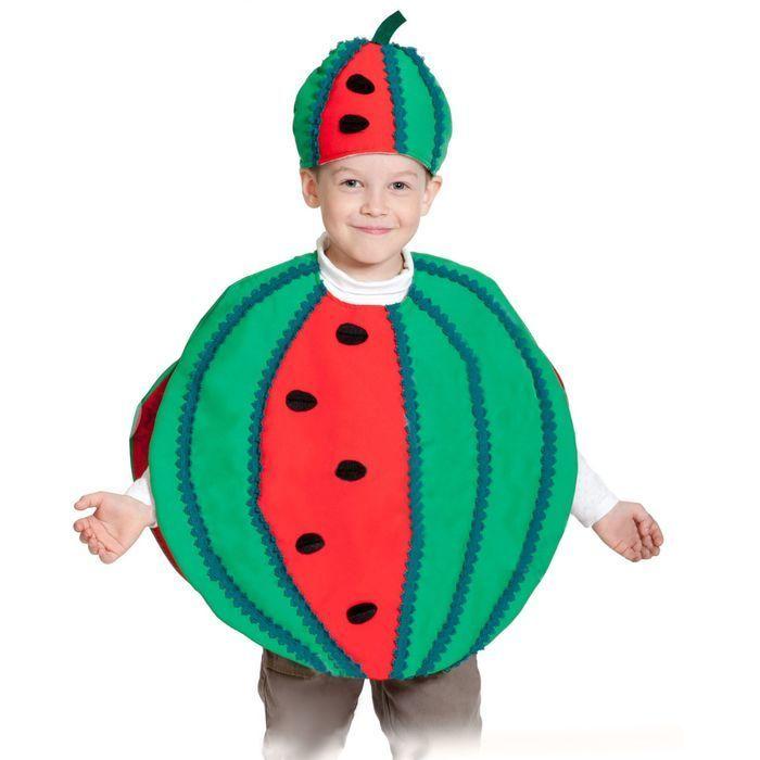 """Карнавальный костюм """"Арбуз"""", текстиль, накидка и маска-шапочка, рост 98-128 см"""