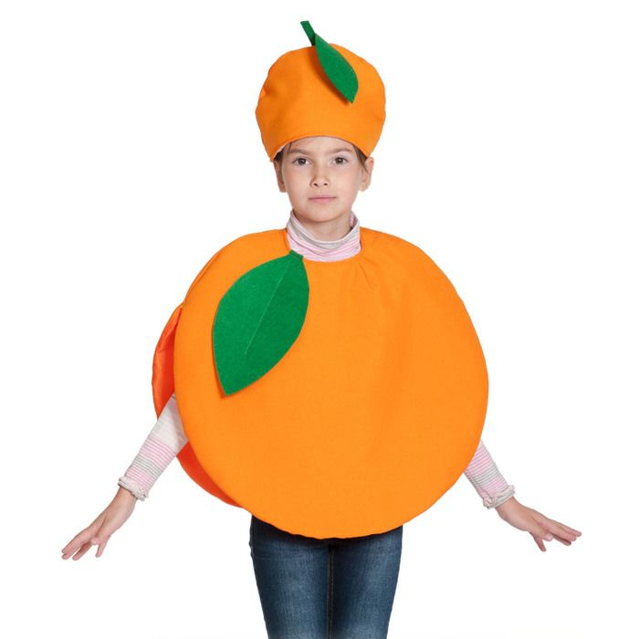 """Карнавальный костюм """"Апельсин"""", текстиль, накидка и маска-шапочка, рост 98-128 см"""