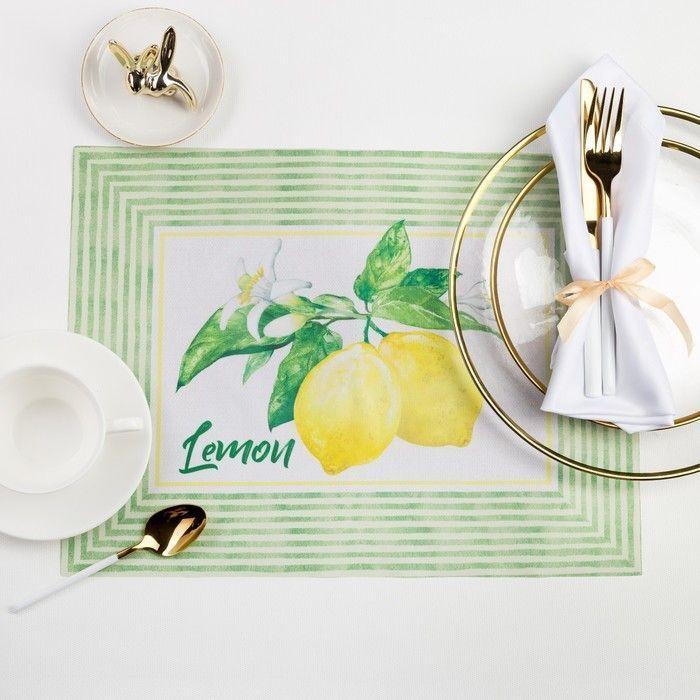 "Салфетка на стол ""Лимоны"" 30 х 40см, 100 % п/э, оксфорд 420 г/м2"